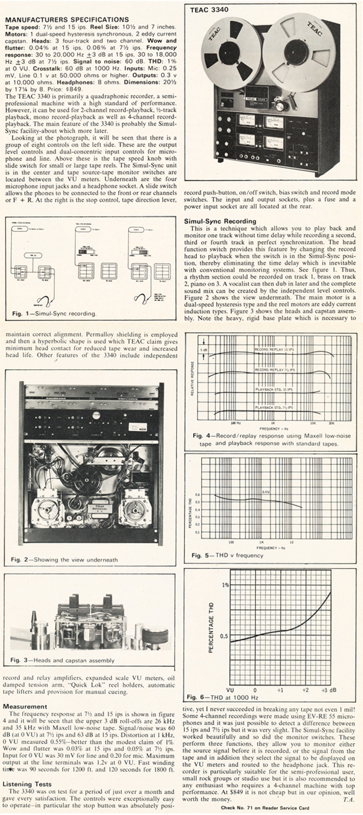 1973 review of the original Teac A-3340 4 track reel to reel tape recorder in  the Museum of Magnetic Sound Recording