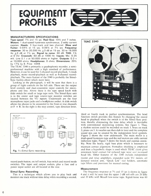1973 review articles on the Teac A-3340 reel to reel tape recorder in the Reel2ReelTexas.com vintage recording collection reel tape recorder collection