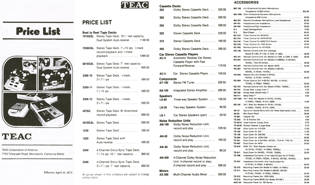 1973 price list for Teac reel tape recorder products  in the Reel2ReelTexas.com vintage recording collection vintage reel to reel tape recorder collection