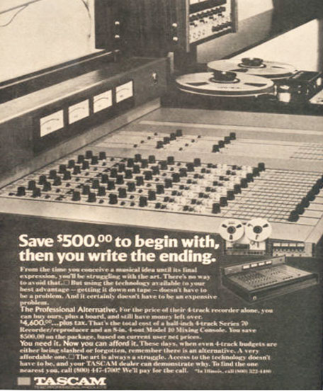 1973 ad for the Teac Tascam Series 70 reel tape recorder and the Model 10 mixing board in  the Museum of Magnetic Sound Recording