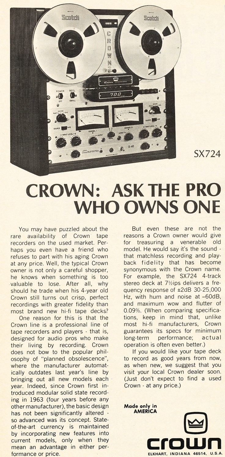 1974 Crown reel to reel tape recorder ad in the Reel2ReelTexas.com vintage recording collection