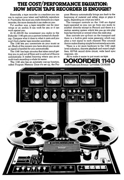 1976 ad for the Dokorder 1140 reel to reel tape recorder in the Reel2ReelTexas.com vintage reel tape recorder recording collection