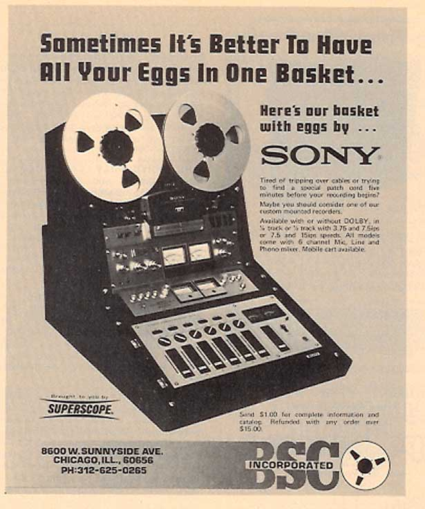 1974 Sony reel to reel tape recorder, mixer and console ad in Reel2ReelTexas' images/R2R/vintage recording collection
