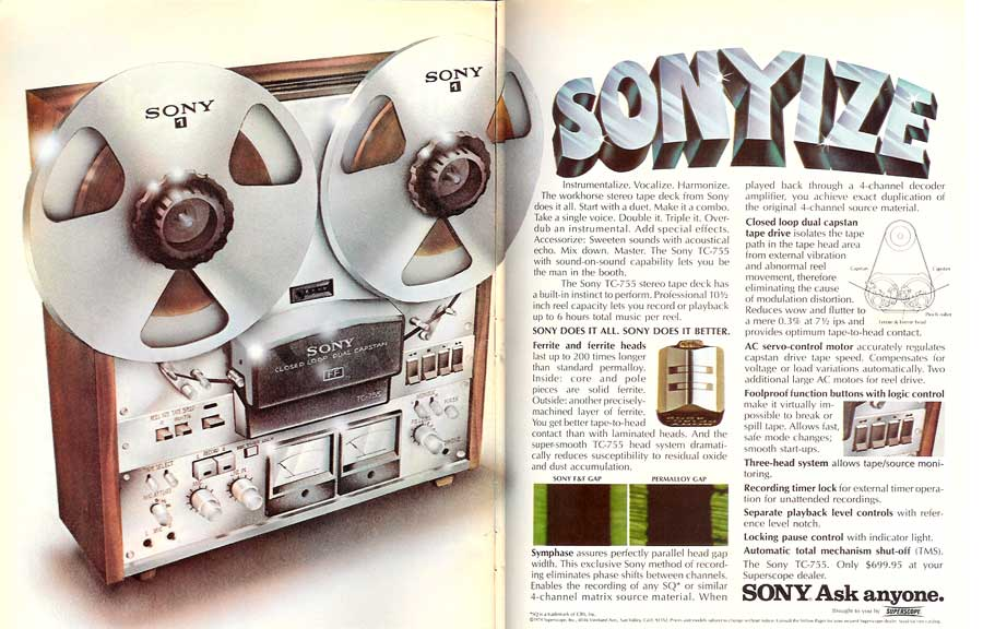 1974 ad for the Sony TC-755 reel tape recorder in the Reel2ReelTexas.com's vintage reel tape recorder recording collection