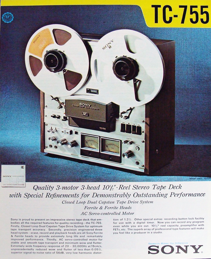 1974 Sony TC-755 reel to reel tape recorder ad in Reel2ReelTexas' images/R2R/vintage recording collection