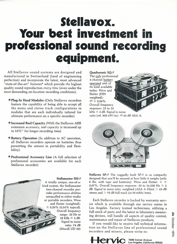 1974 Stellavox ad in the Reel2ReelTexas.com vintage recording collection