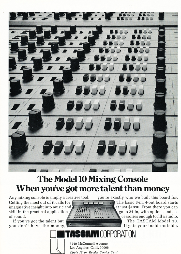 1974 ad for the Teac Tascam Model 10 mixing console in the Reel2ReelTexas.com vintage recording collection