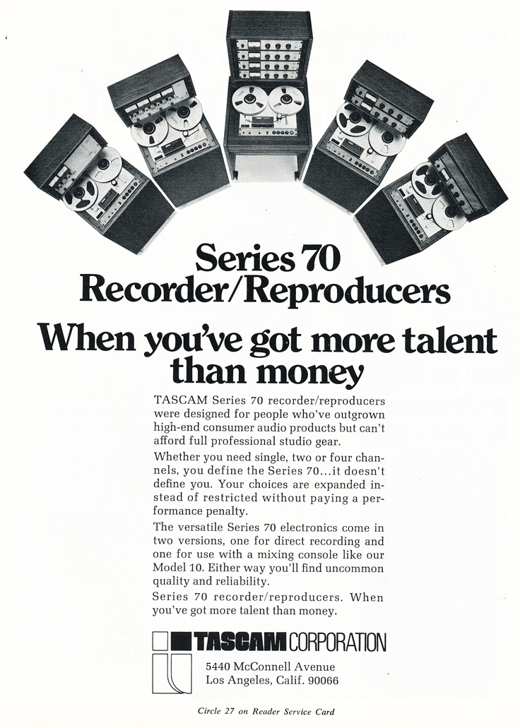 1974 ad for the Teac Tascam Series reel to reel professional tape recorders in the Reel2ReelTexas.com vintage recording collection