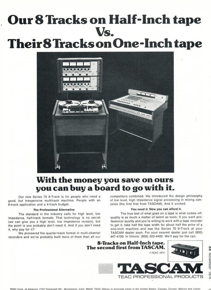 1975 ad for the Teac Series 70 8 track reel to reel tape recorder  in the Reel2ReelTexas.com vintage recording collection