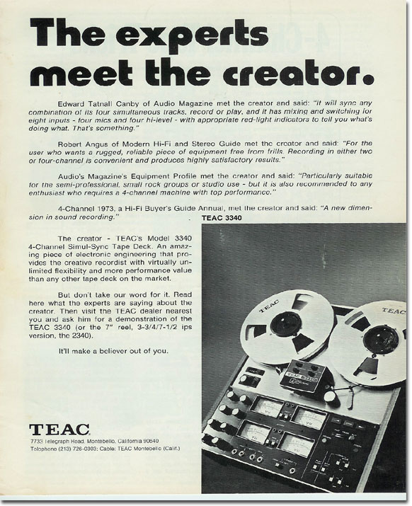 Teac 3340 brochure in the Reel2ReelTexas.com vintage recording collection