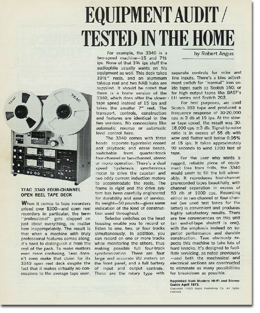 Teac 3340 reel to reel tape recorder review in the Reel2ReelTexas.com vintage recording collection