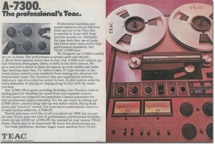 1974 review of the Teac A-7300 in the Reel2ReelTexas.com vintage recording collection