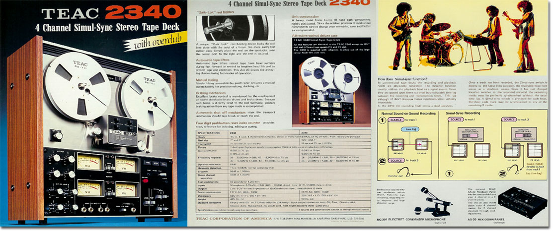 Teac A-2340 reel to reel tape recorder brochure in the Reel2ReelTexas.com vintage recording collection