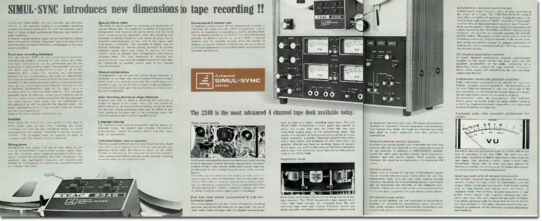 Teac 3340 reel to reel tape recorder brochure in the Reel2ReelTexas.com vintage recording collection