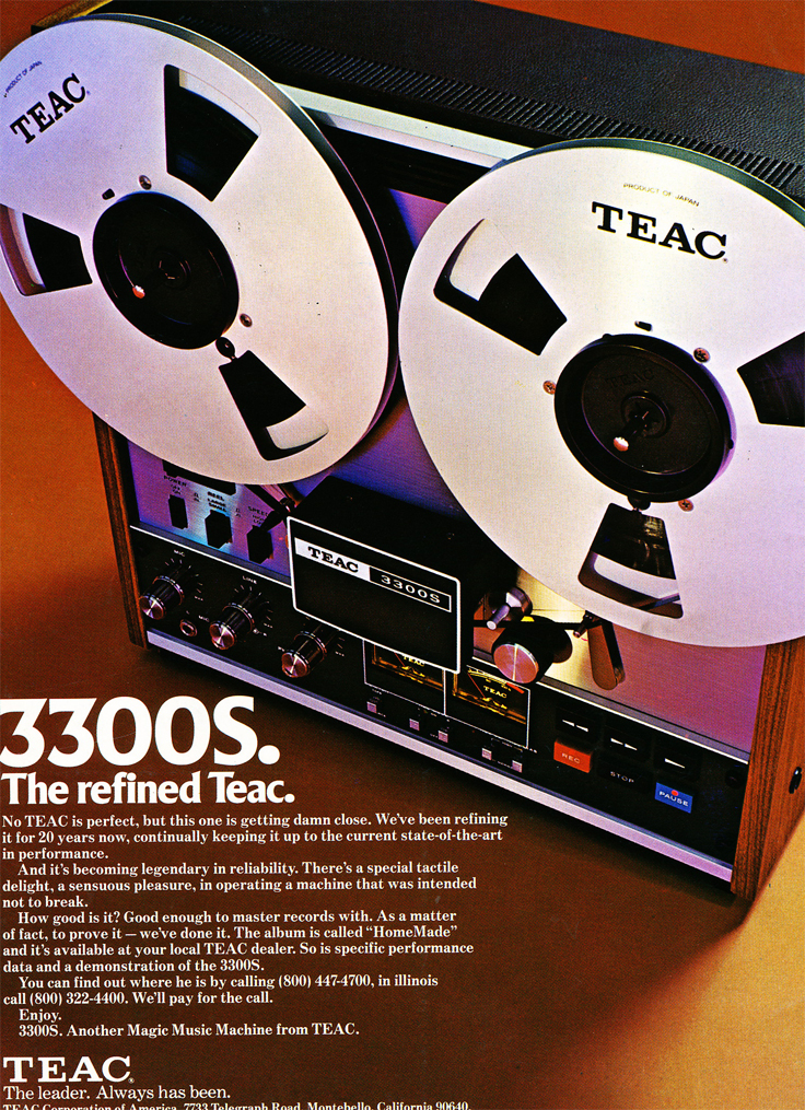 1974 ad for the Teac A-3300 reel to reel tape recorder in the Reel2ReelTexas.com vintage recording collection