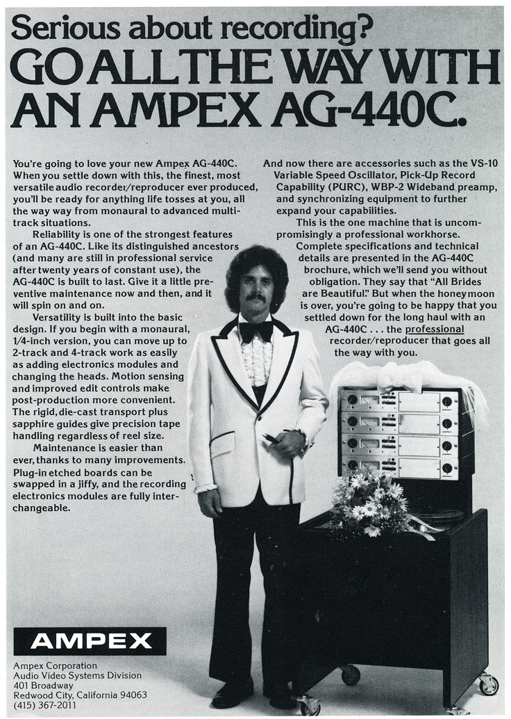 1974 ad for the Ampex AG-440C professional reel to reel tape recorder in the Reel2ReelTexas.com vintage recording collection