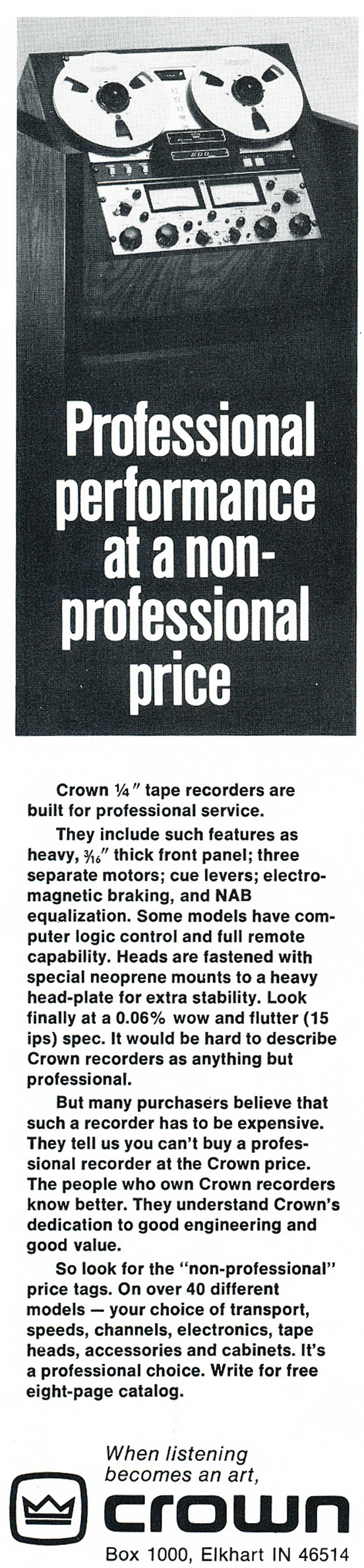 1975 Crown reel to reel tape recorder ad in the Reel2ReelTexas.com vintage recording collection