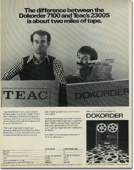 1975 Dokorder reel to reel tape recorder ad  in the Reel2ReelTexas.com vintage reel tape recorder recording collection