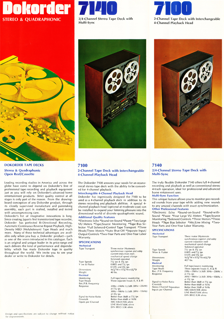 1975 brochure for the Dokorder reel to reel tape recorders in the Reel2ReelTexas vintage recording collection