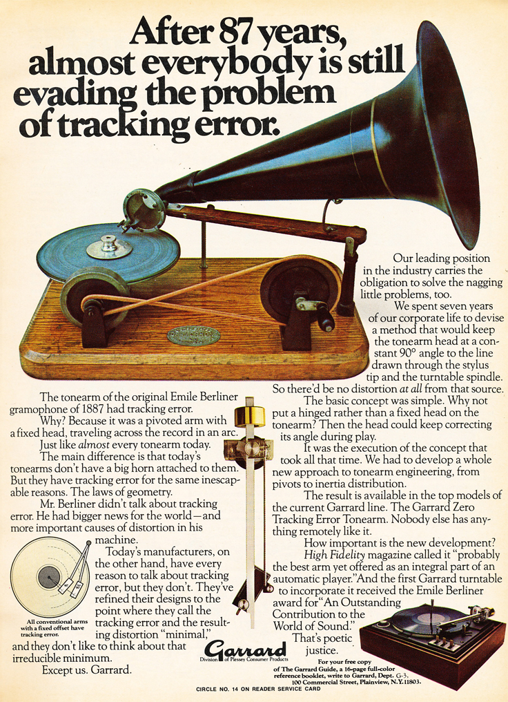 1975 ad for Garrard turntables in the Reel2ReelTexas.com vintage recording collection