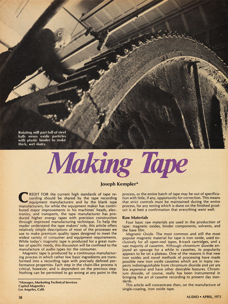 1975 article about making reel to reel recording tape in the Reel2ReelTexas.com vintage recording collection
