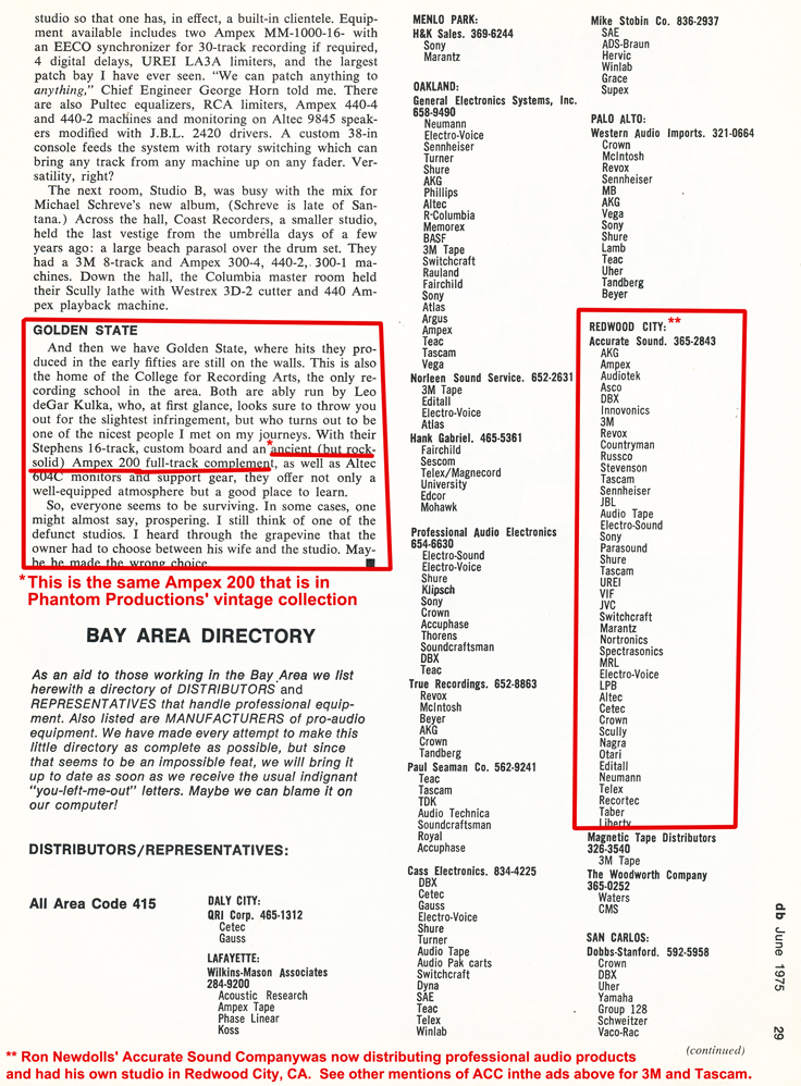 1975 review of San Francisco recording studios including a mention of Golden State Recording Studio and Leo deGar Kulka's Ampex 200 which is now in the Reel2ReelTexas.com's vintage reel tape recorder recording collection