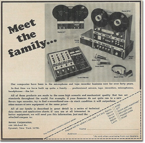 ReVox and Beyerdybanic microphone ad in the Reel2ReelTexas.com vintage reel tape recorder recording collection