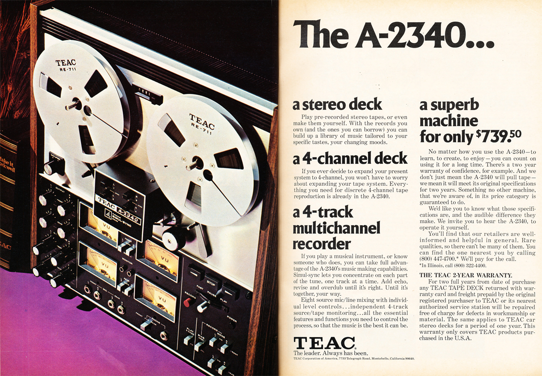 1975 ad for the Teac A-2340 reel to reel tape recorder in the Reel2ReelTexas.com vintage recording collectionvintage recording collection