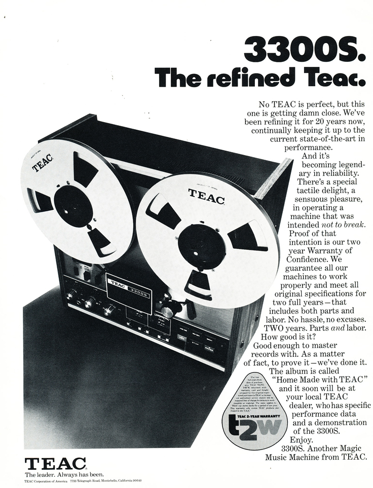 1975 ad for the Teac A-3300S reel to reel tape recorders in the Reel2ReelTexas.com vintage recording collection vintage recording collection