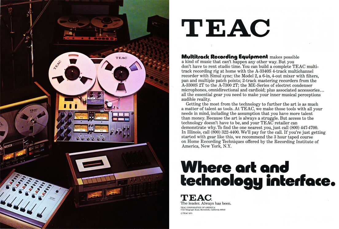 1975 ad for the Teac A-3340, A-2300 and the Model 2 mixer  in the Reel2ReelTexas.com vintage recording collection vintage recording collection