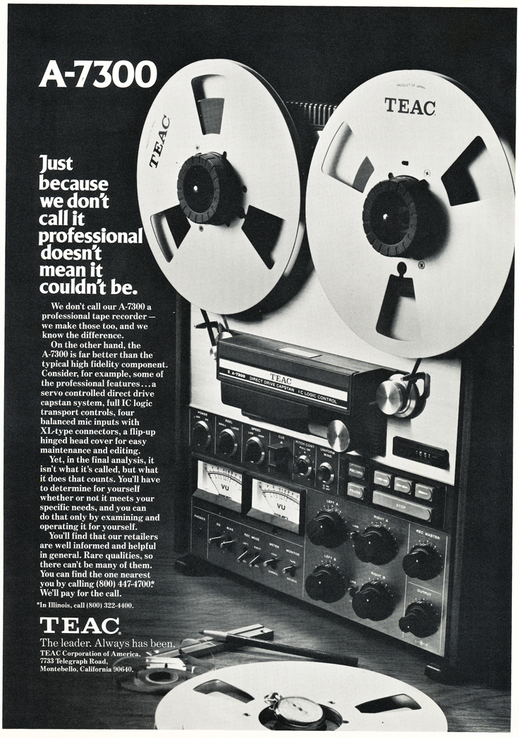 1975 ad for the Teac A-7300 reel to reel tape recorders in the Reel2ReelTexas.com vintage recording collection vintage recording collection
