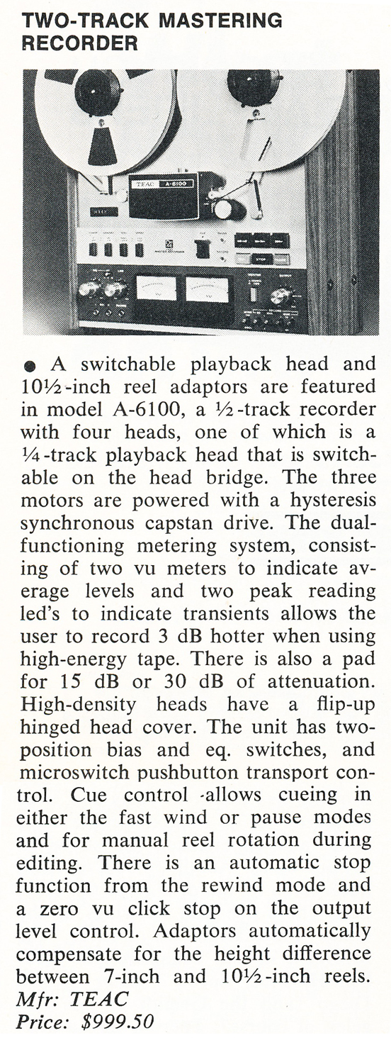 1975 review of the Teac A-6100 2 track simul-Sync reel to reel tape recorder in the Reel2ReelTexas.com vintage recording collection