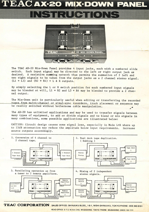 Teac AX-20 mix down panel instructions in the Reel2ReelTexas.com vintage recording collection vintage tape recording collection