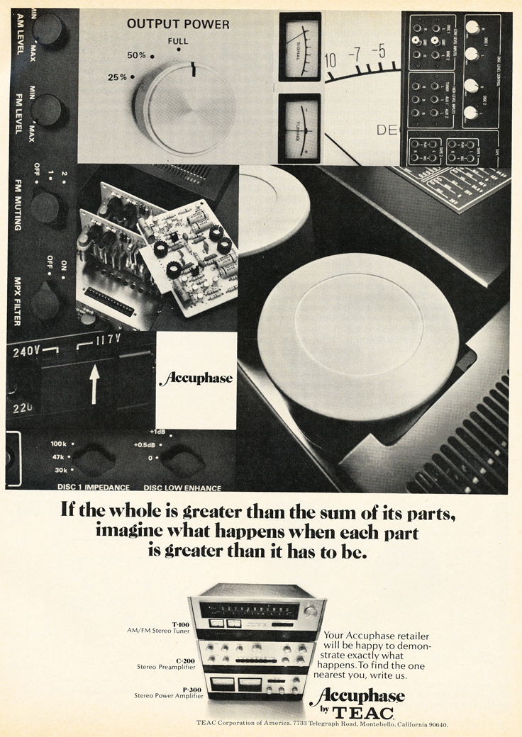 1975 ad featuring Tec's Accuphase line of audio products in the Reel2ReelTexas.com vintage recording collection vintage recording collection