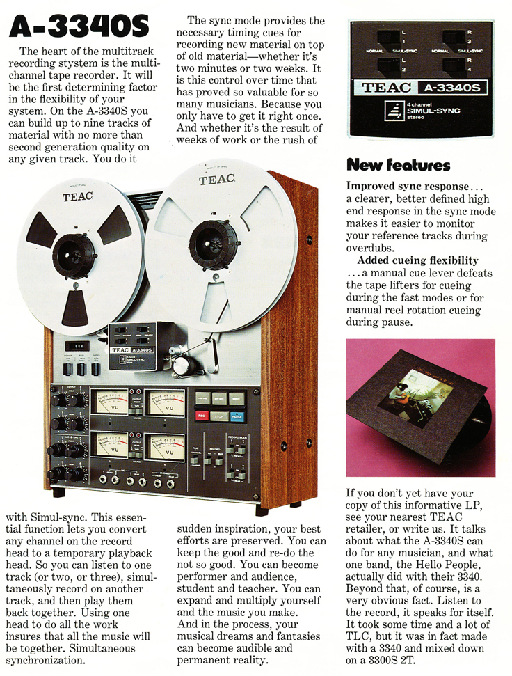 1975 ad for Multitrack Teac reel to reel tape recorders and accessories in the Reel2ReelTexas.com vintage recording collection vintage recording collection