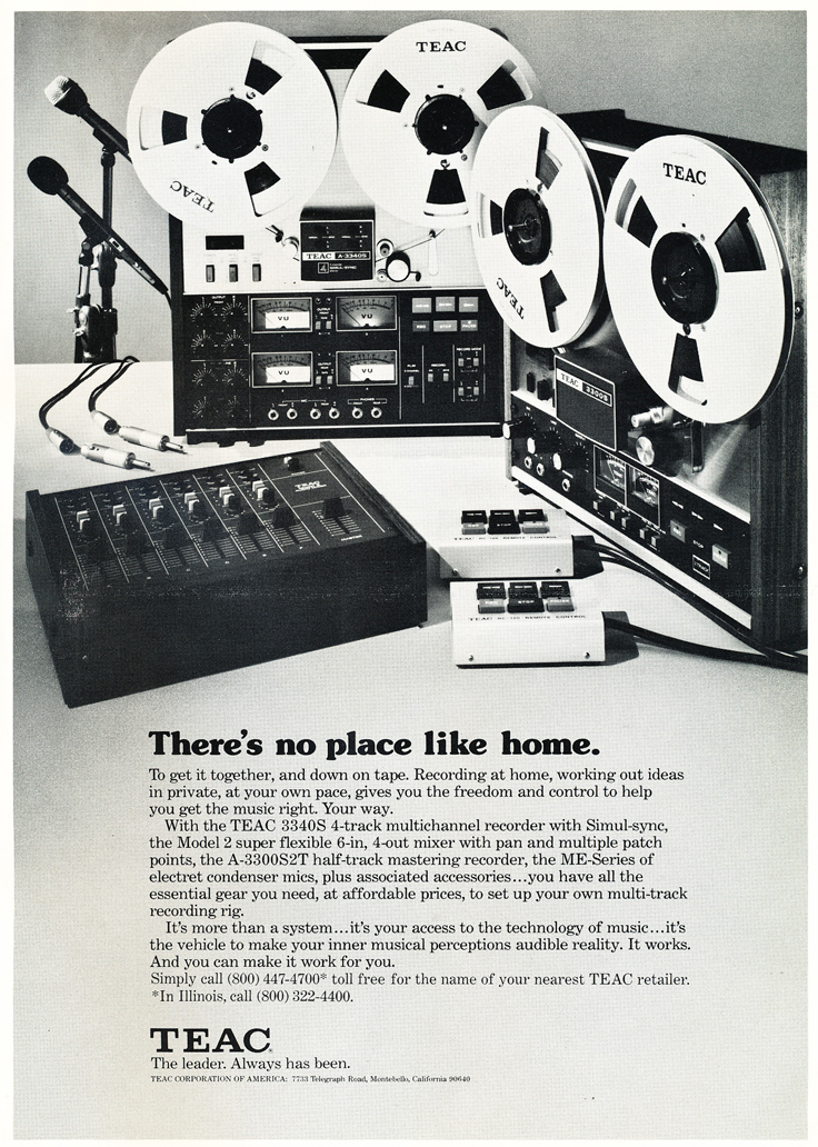 1975 ad for the Teac A-3300S 2Track, the Teac A-3340 4 track reel to reel tape recorders and the Model 2 mixer in the Reel2ReelTexas.com vintage recording collection vintage recording collection