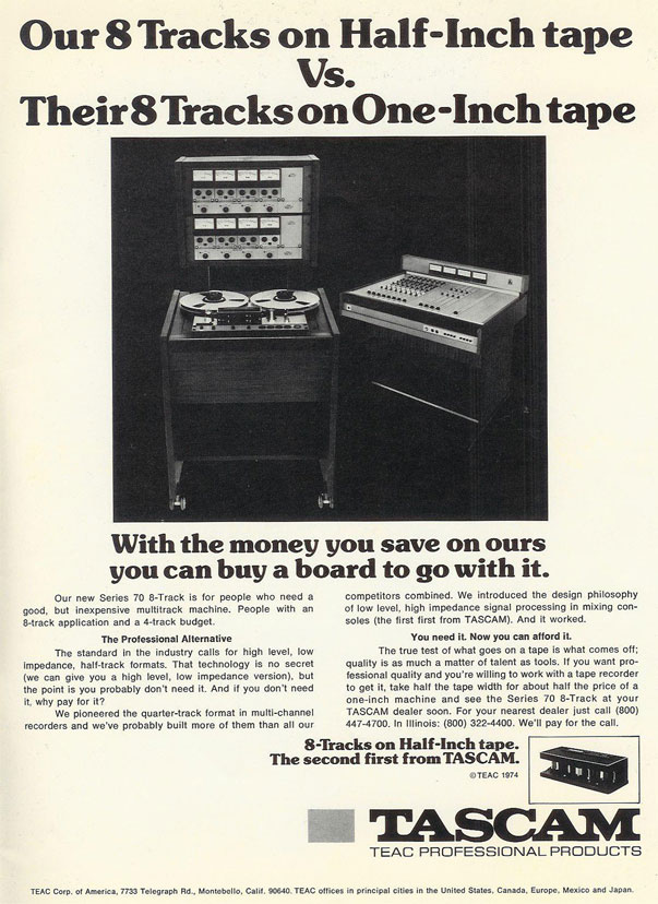 "1975 ad for the Teac Tascam Series 70 1/2"" 8 track professional reel to reel tape recorder  in the Reel2ReelTexas.com vintage recording collection vintage recording collection"