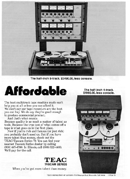 1975 ad for the Teac Series 70H8 8 track reel to reel tape recorder in the Reel2ReelTexas.com vintage recording collection