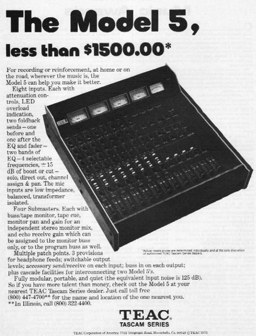 1975 ad for the Teac Tascam Model 5 mixer in the Reel2ReelTexas.com vintage recording collection vintage recording collection