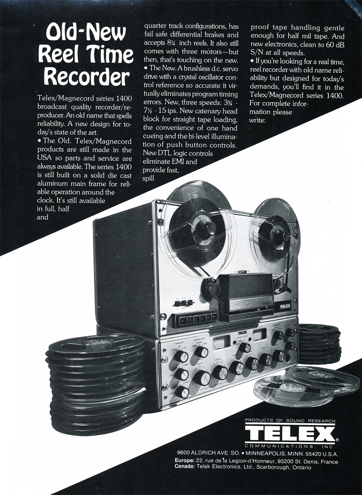 1975 ad for Telex Magnecord reel to reel tape recorders in the Reel2ReelTexas.com vintage recording collection