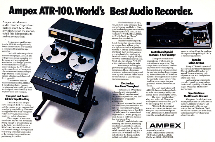 1976 ad for the Ampex ATR-100 professional reel to reel tape recorder in the Reel2ReelTexas.com vintage reel tape recorder recording collection