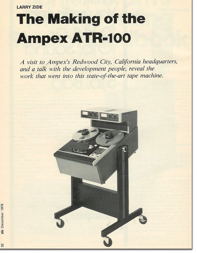 1976 article on the making of the Ampex ATR-100 in the Reel2ReelTexas.com vintage recording collection