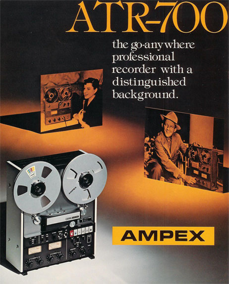 Teac built this ATR-700 for Ampex and relesed it under their own Teac brand as the A-7300 2 track mastering tape recorder reel to reel tape recorderin the Museum of Magnetic Sound Recording