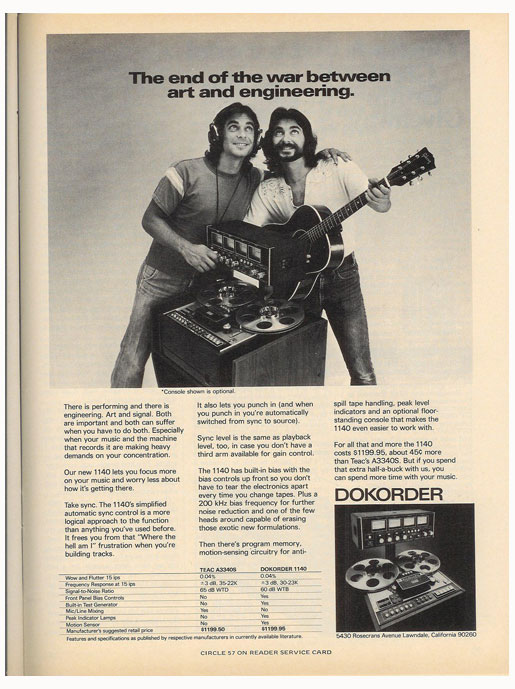 1976 ad for Dokorder reel to reel tape recorders in the Reel2ReelTexas.com vintage recording collection