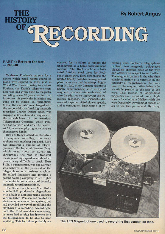 1976 article about the History of Recording in the Reel2ReelTexas.com vintage recording collection