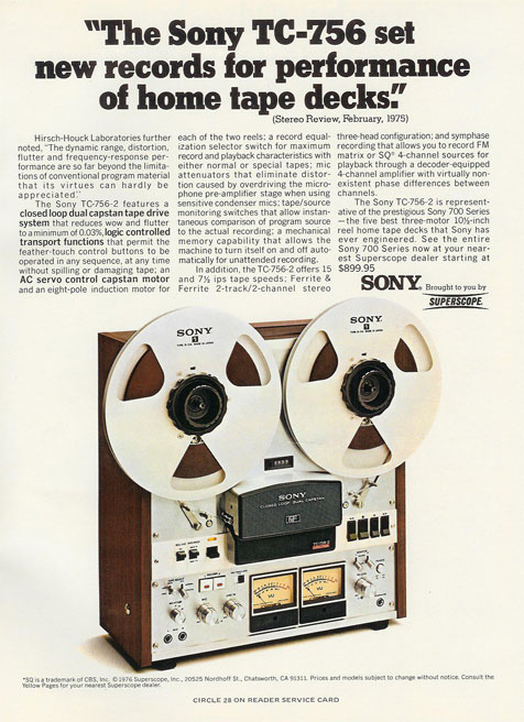 picture of 1976 Ad for Sony 756 tape recorder
