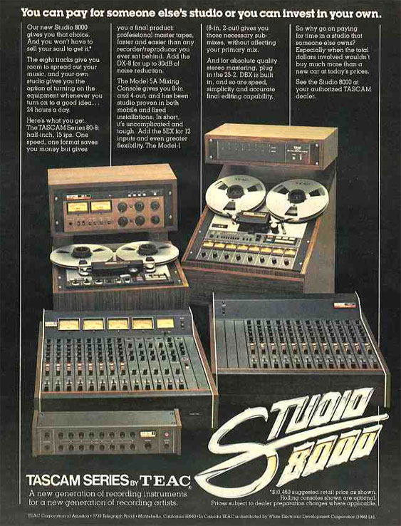 1976 ad fro the Teac Tascam 80-8 reel to reel tape recorder  in the Reel2ReelTexas.com vintage reel tape recorder recording collection