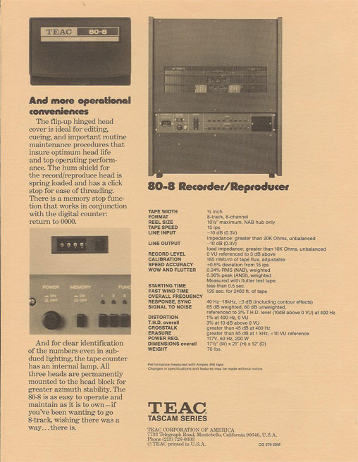 phantom's vintage ad for 1976 Teac Tascam 80-8