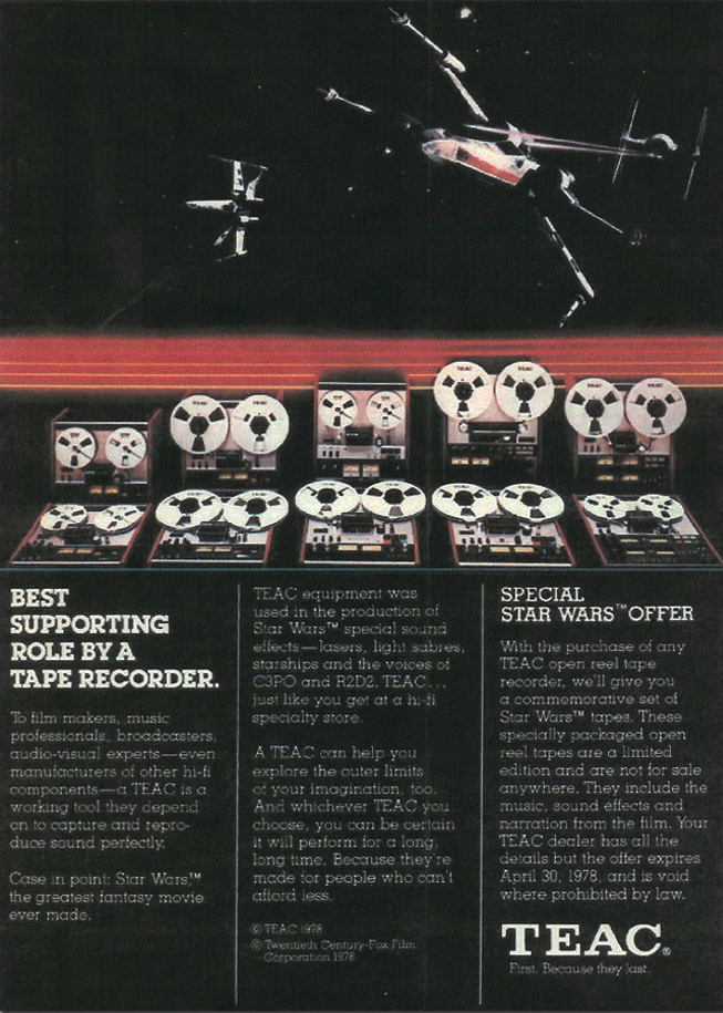 1976 ad for Teac  reel to reel tape recorders featuring the fact that the Teac 80-8 was used to record the sound effects for 3CPO and R2D2 in the Star Wars film in the Reel2ReelTexas.com vintage recording collection
