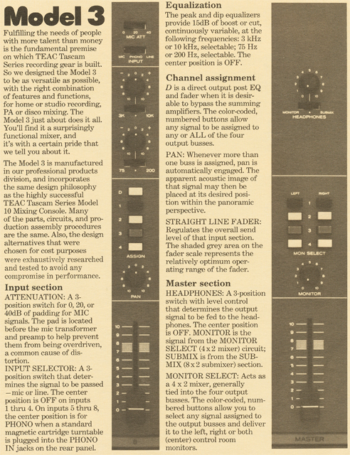 ad for Teac Tascam Model 3 mixer in the Reel2ReelTexas.com vintage recording collection vintage tape recording collection